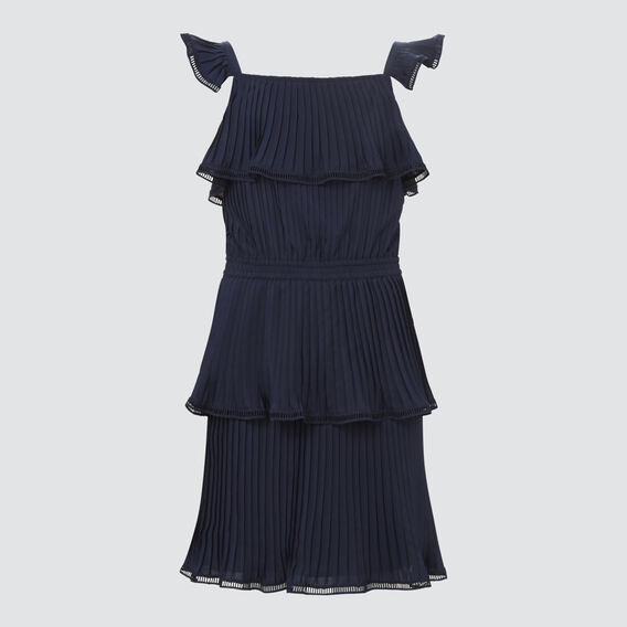 Pleated Chiffon Dress  MIDNIGHT  hi-res