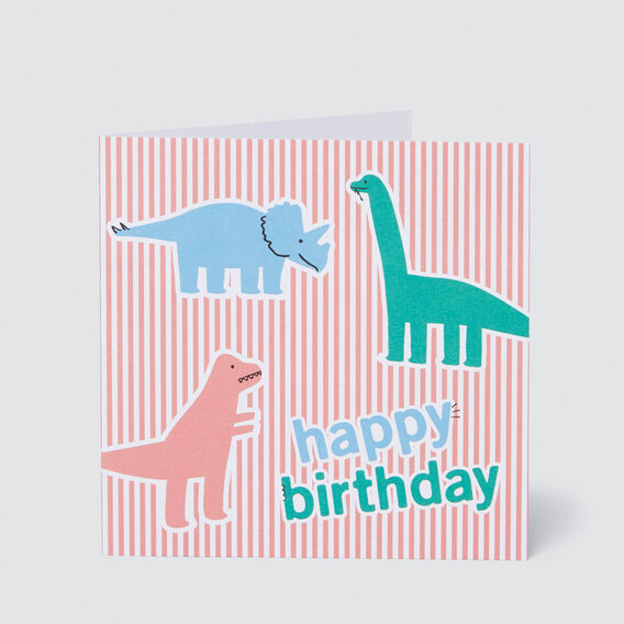 Large Dino Happy Birthday Card  MULTI  hi-res