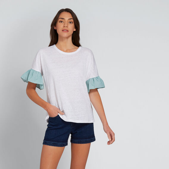 Stripe Sleeve Tee  WHISPER WHITE  hi-res
