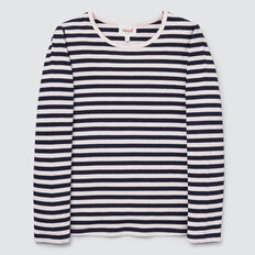 Stripe Rib Tee  NAVY/ICE PINK  hi-res