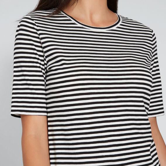 Round Neck Stripe Tee  BLACK/CLOUD CREAM  hi-res