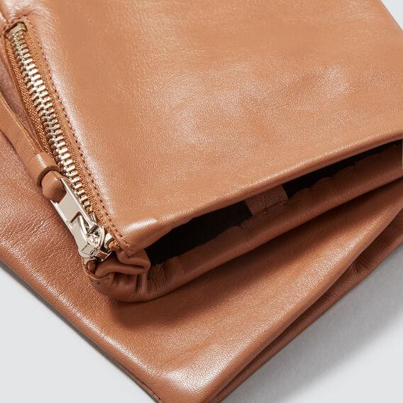 Zip Detail Leather Gloves  TAN  hi-res