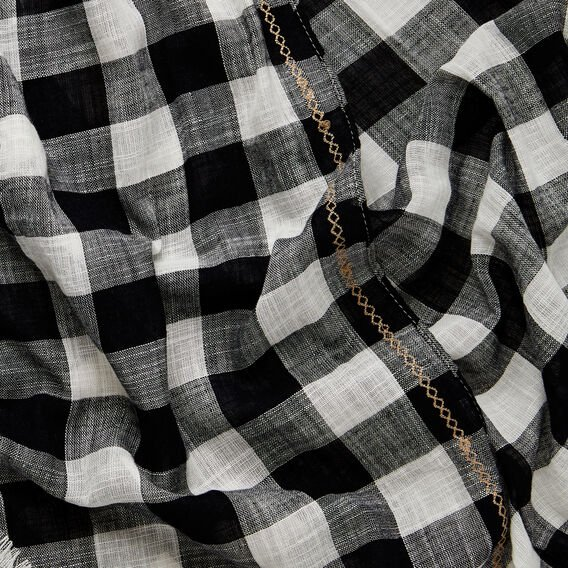 Gingham Scarf  BLACK/WHITE  hi-res