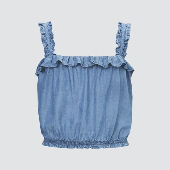 Woven Cropped Top  SKY CHAMBRAY  hi-res