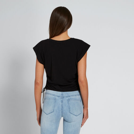 Drawstring Tee  BLACK  hi-res