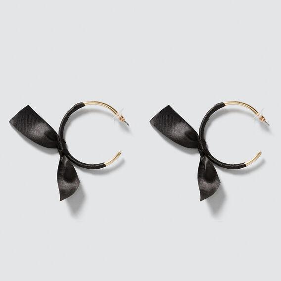 Bow Hoop Earrings  GOLD/BLACK  hi-res