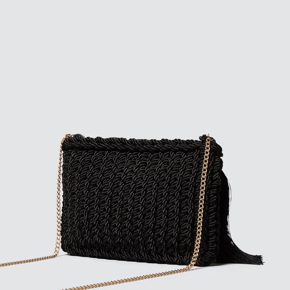 Woven Tassel Pouch  BLACK  hi-res
