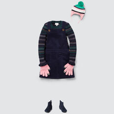 Cord Button Pinafore  NAVY  hi-res