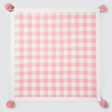 Gingham Pom Pom Blanket  DUSTY PINK  hi-res