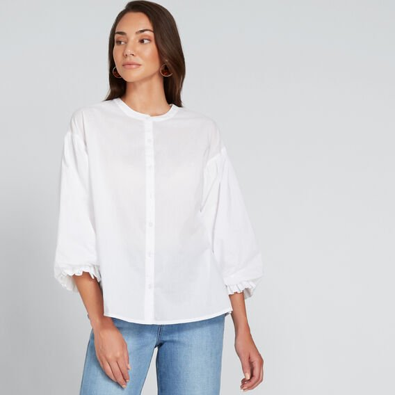 Gathered Puff Sleeve Shirt  WHISPER WHITE  hi-res