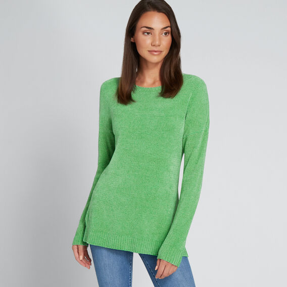 Side Split Long Sleeve Top  WASHED GREEN  hi-res