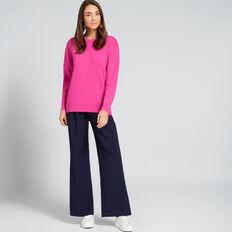 Curve Hem Easy Sweater  BOLD FUCHSIA  hi-res