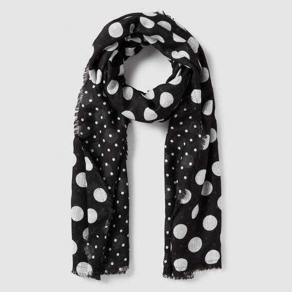 Spot Print Scarf  BLACK/CREAM  hi-res