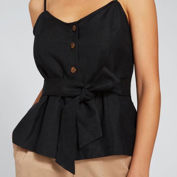 Button Down Tie Top  BLACK  hi-res