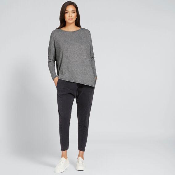 Asymmetric Stripe Sweater  ONYX MARLE STRIPE  hi-res