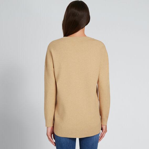 Curve Hem Easy Sweater  GOLDEN TAN MARLE  hi-res