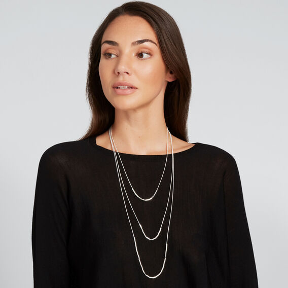 Layered Bead Necklace  SILVER  hi-res