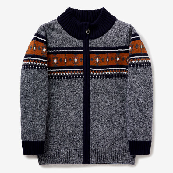 Zip-Up Fair Isle Knit  MIDNIGHT BLUE  hi-res