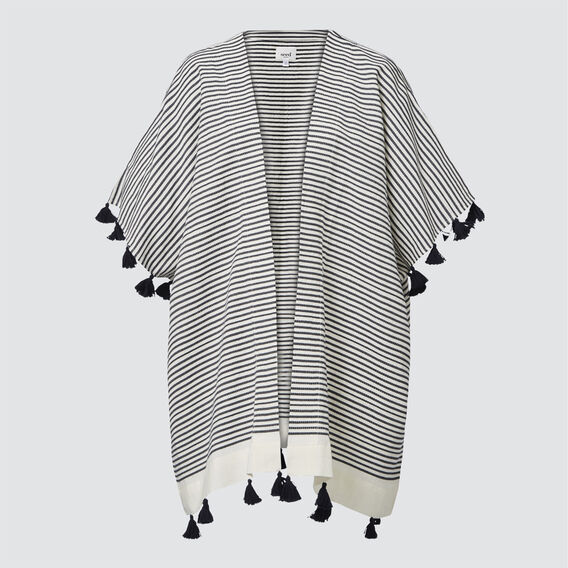 Stripe Tassel Poncho  CREAM/ NAVY  hi-res