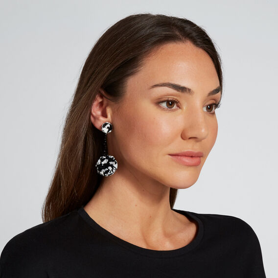 Raffia Pom Pom Earrings  BLACK/WHITE  hi-res
