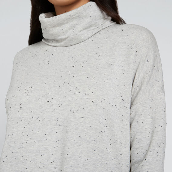 Cowl Neck Flock Sweater  LIGHT ASH MRLE FLECK  hi-res