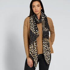 Abstract Ocelot Print Scarf  BLACK MULTI  hi-res