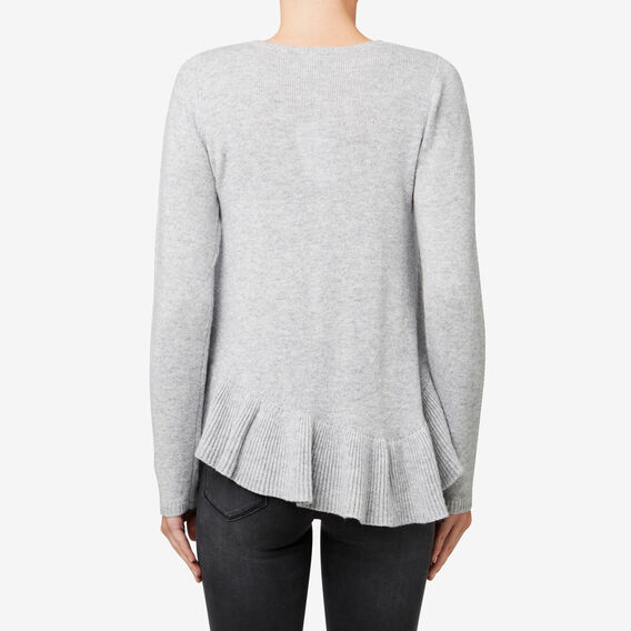 Asymmetrical Frill Sweater  MID GREY MARLE  hi-res