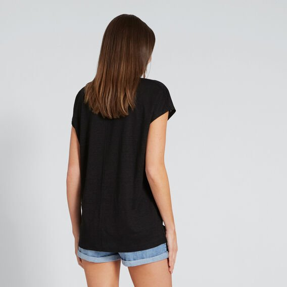 Linen Tee  BLACK  hi-res