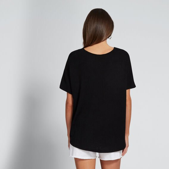 V-Neck Textured Tee  BLACK  hi-res