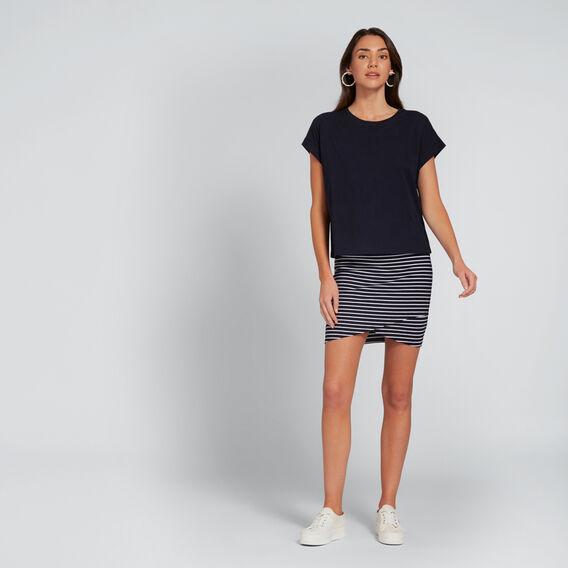 Cross-Over Jersey Skirt  DEEP NAVY STRIPE  hi-res