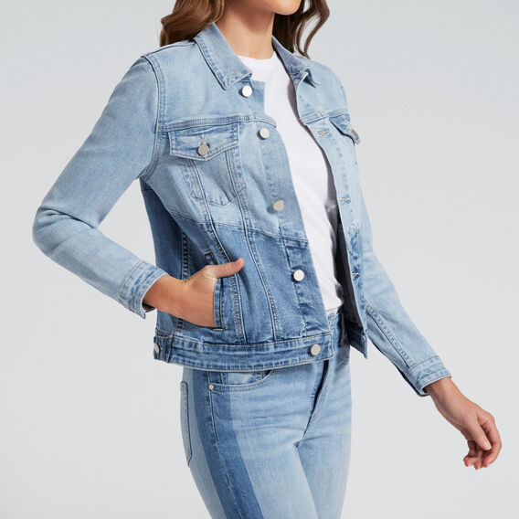 Spliced Denim Jacket  PASTEL DENIM WASH  hi-res