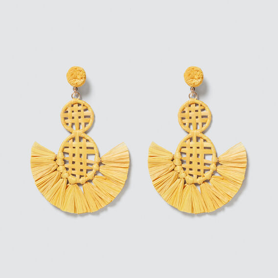 Raffia Weave Earring  AMBER YELLOW  hi-res
