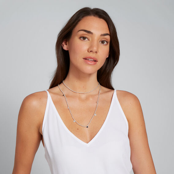 Bead and Disc Necklace  SILVER  hi-res