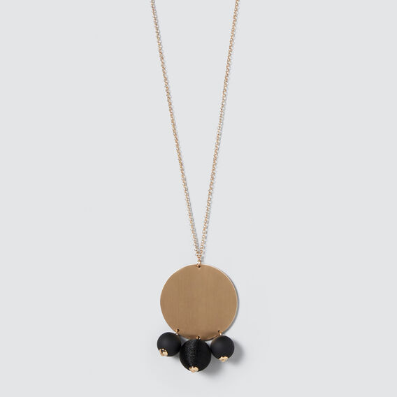 Pom Pom Necklace  GOLD/BLACK  hi-res