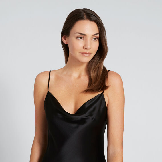 Cowl Neck Slip Dress  BLACK  hi-res