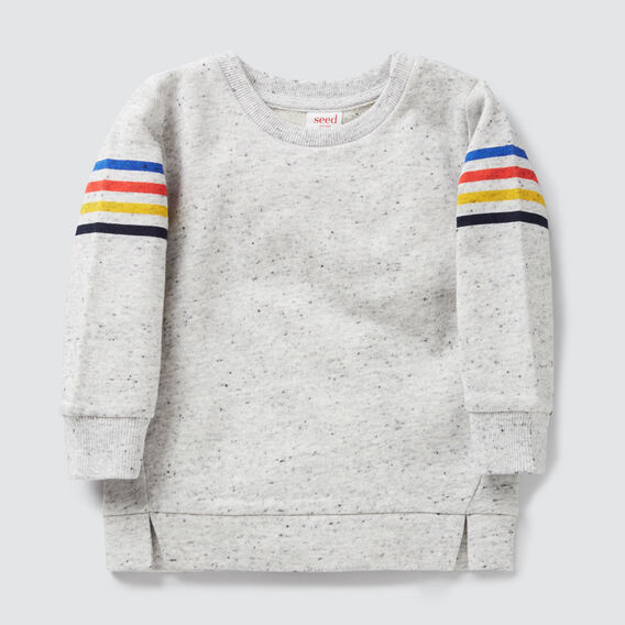 Stripe Sleeve Crew Sweater  CLOUDY MARLE  hi-res