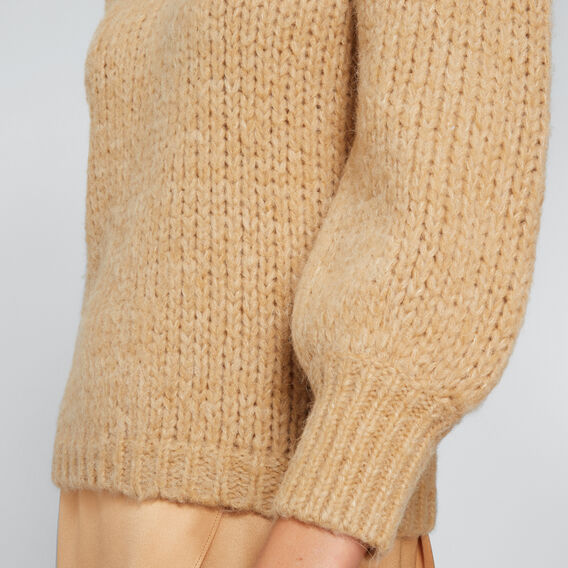 3/4 Gathered Sleeve Sweater  GOLDEN TAN MARLE  hi-res