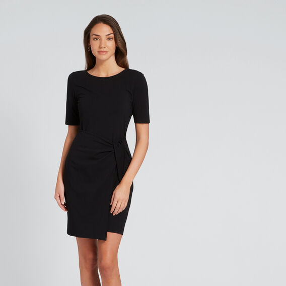 Knot Front Dress  BLACK  hi-res