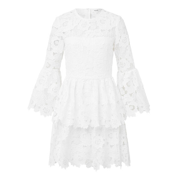 Bell Frill Lace Dress  WHITE  hi-res