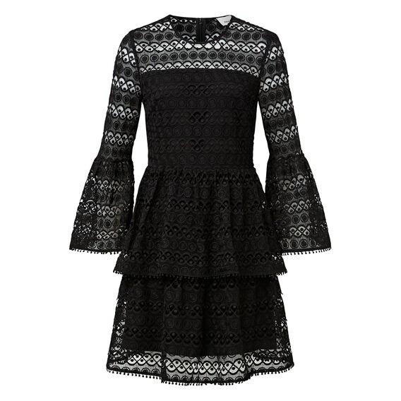 Bell Sleeve Broderie Dress  BLACK  hi-res