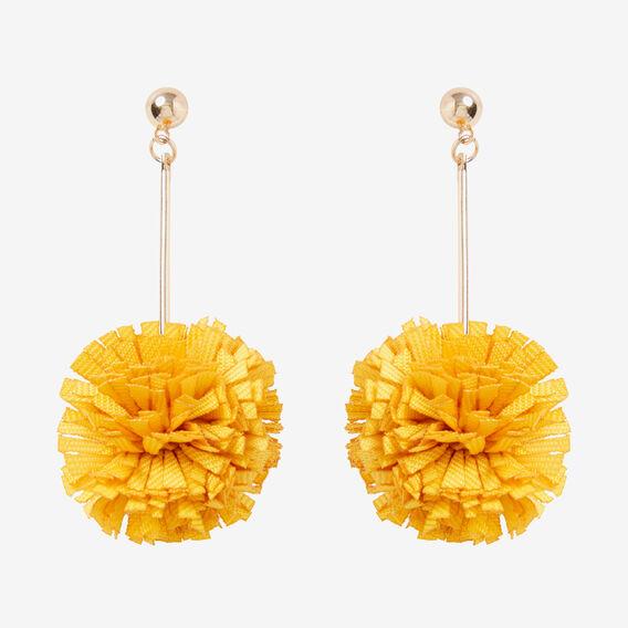 Ruffle Pom Pom Earrings  DAFFODIL  hi-res