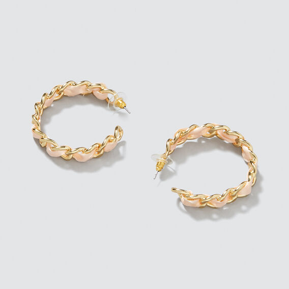 Chain Ribbon Hoops  GOLD/PEACH  hi-res