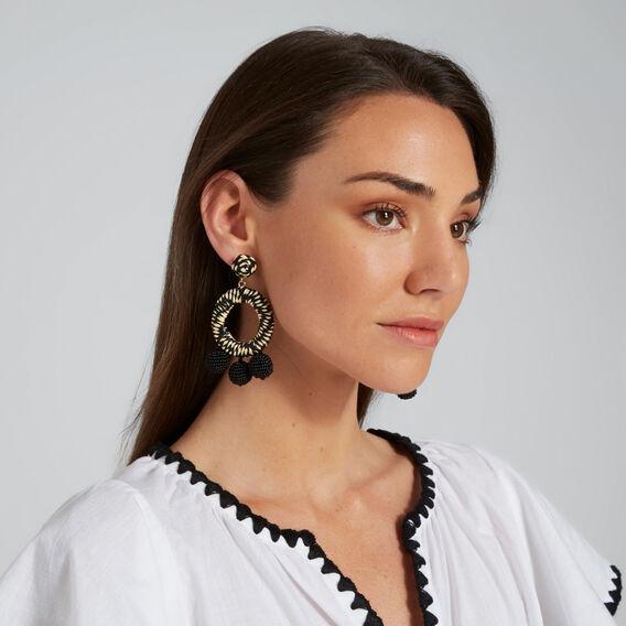 Straw Pom Pom Earrings  BLACK/NATURAL  hi-res