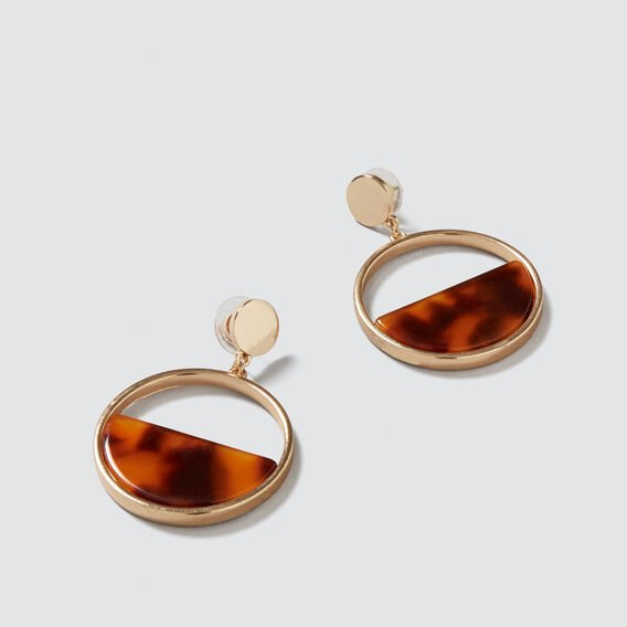 Half Moon Tort Earrings  GOLD/TORT  hi-res