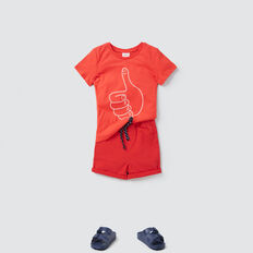 Embroidered Slogan Tee  FIRE ENGINE RED  hi-res