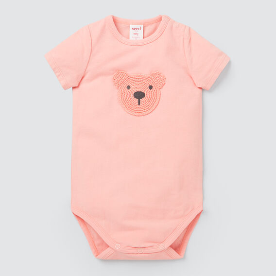 Crochet Bear Bodysuit  BRIGHT PEACH  hi-res