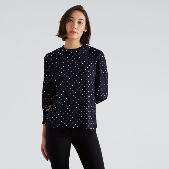 Shirred Spot Top  NAUTICAL BLUE SPOT  hi-res