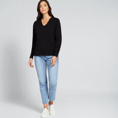 V Neck Cosy Sweater  BLACK  hi-res