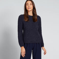 Rib Detail Sweater  NAUTICAL BLUE MARLE  hi-res