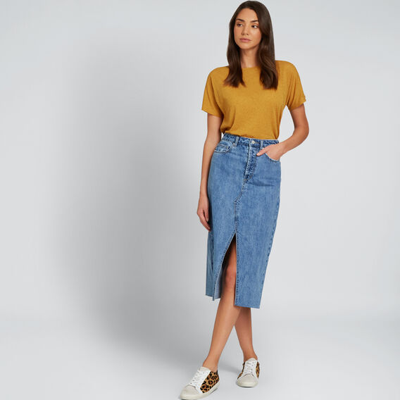 Longline Denim Skirt  CLASSIC DENIM  hi-res